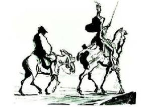 Don Quixote and Sancho Panza drawn by Honore Daumier