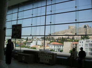 The top floor of the new museum provides a view of the Parthenon.
