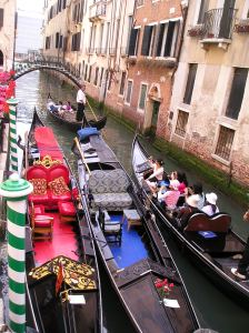 Gondola Traffic Jam in Venice, Italy Photo by VMB